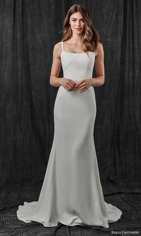 kelly faetanini spring 2022 bridal sleeveless straps square neckline clean minimalist sheath wedding dress chapel train (17) mv