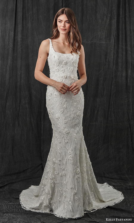kelly faetanini spring 2022 bridal sleeveless straps square neckline fully embellished sheath wedding dress chapel trian (4) mv