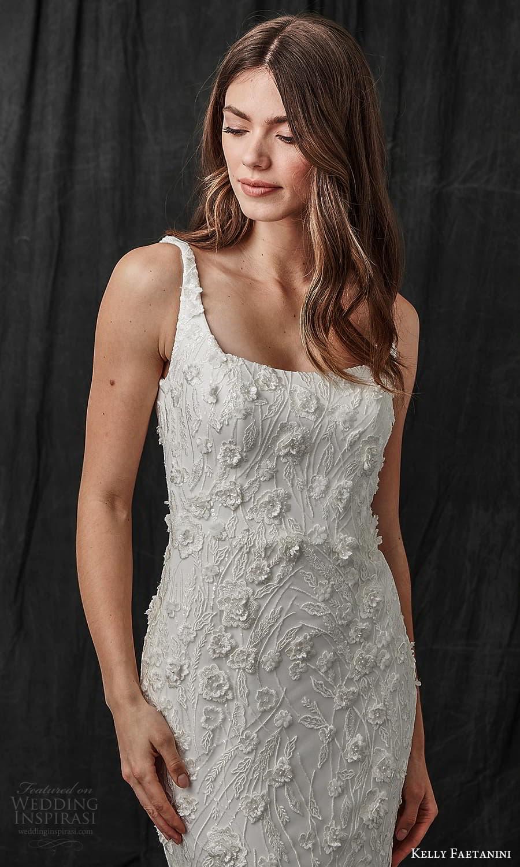 kelly faetanini spring 2022 bridal sleeveless straps square neckline fully embellished sheath wedding dress chapel trian (4) zv