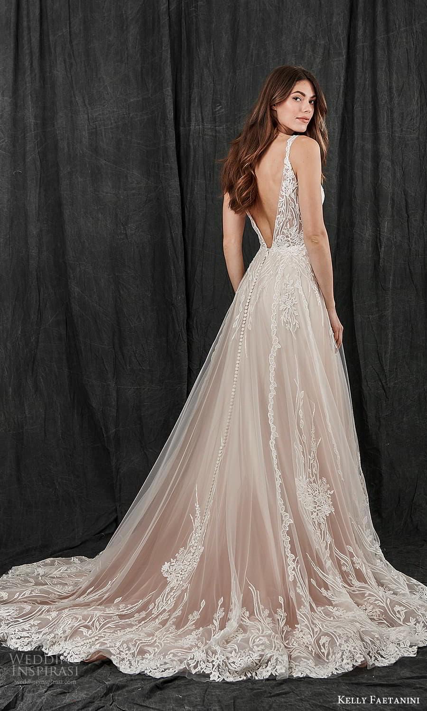 kelly faetanini spring 2022 bridal sleeveless straps v neckline embellished a line wedding dress blush chapel train v back (14) bv