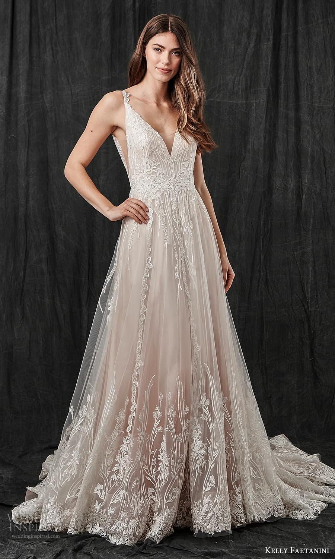 kelly faetanini spring 2022 bridal sleeveless straps v neckline embellished a line wedding dress blush chapel train v back (14) mv
