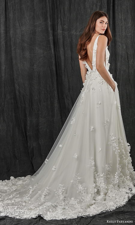 kelly faetanini spring 2022 bridal sleeveless straps v neckline fully embellished a line ball gown wedding dress chapel train (12) bv