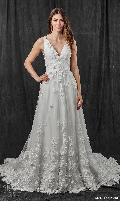 kelly faetanini spring 2022 bridal sleeveless straps v neckline fully embellished a line ball gown wedding dress chapel train (12) mv