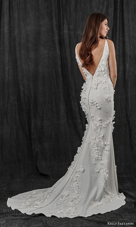 kelly faetanini spring 2022 bridal sleeveless straps v neckline fully embellished sheath wedding dress chapel train (11) bv
