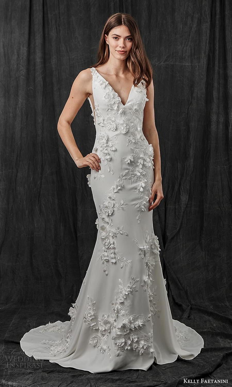 kelly faetanini spring 2022 bridal sleeveless straps v neckline fully embellished sheath wedding dress chapel train (11) mv