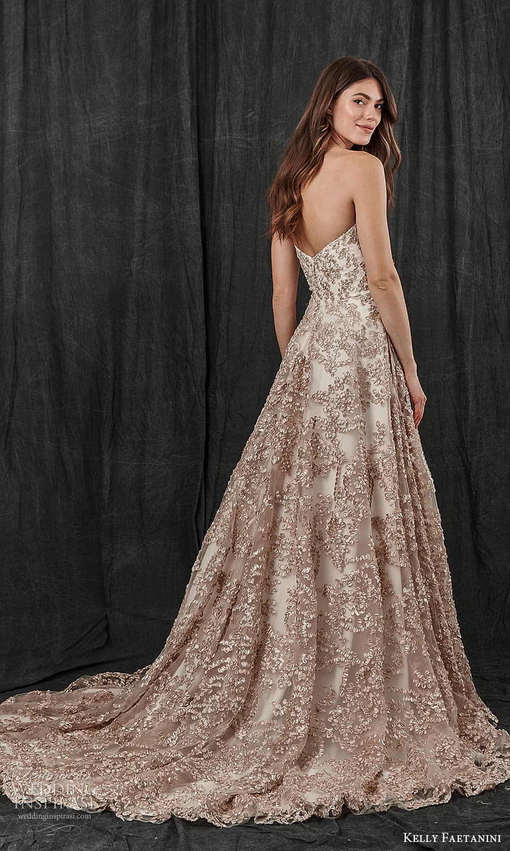 kelly faetanini spring 2022 bridal strapless semi sweetheart necklne fully embellished a line ball gown wedding dress chapel train metallic blush (3) bv
