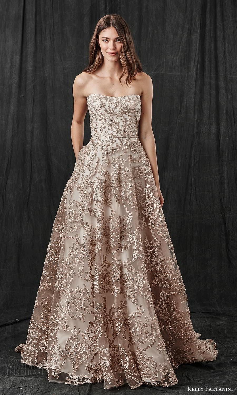 kelly faetanini spring 2022 bridal strapless semi sweetheart necklne fully embellished a line ball gown wedding dress chapel train metallic blush (3) mv