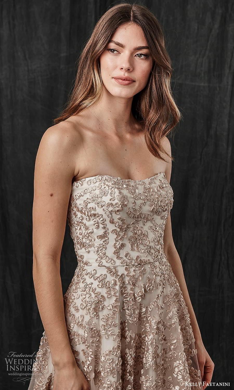 kelly faetanini spring 2022 bridal strapless semi sweetheart necklne fully embellished a line ball gown wedding dress chapel train metallic blush (3) zv