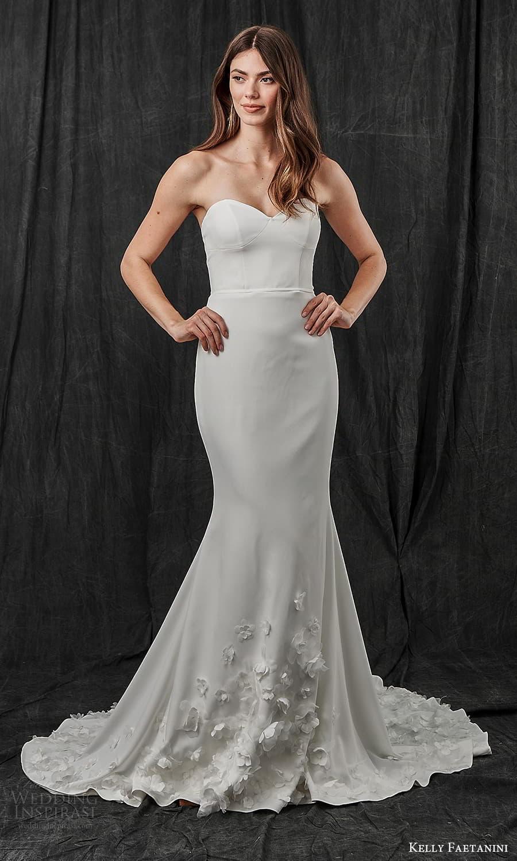 kelly faetanini spring 2022 bridal strapless sweetheart neckline clean minimalist sheath wedding dress chapel train (10) mv