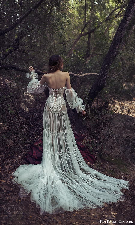 kim kassas spring 2022 bridal long sheer bishop sleeves straight scoop neckline embellished lace a line wedding dress slit skirt chapel train (7) bv