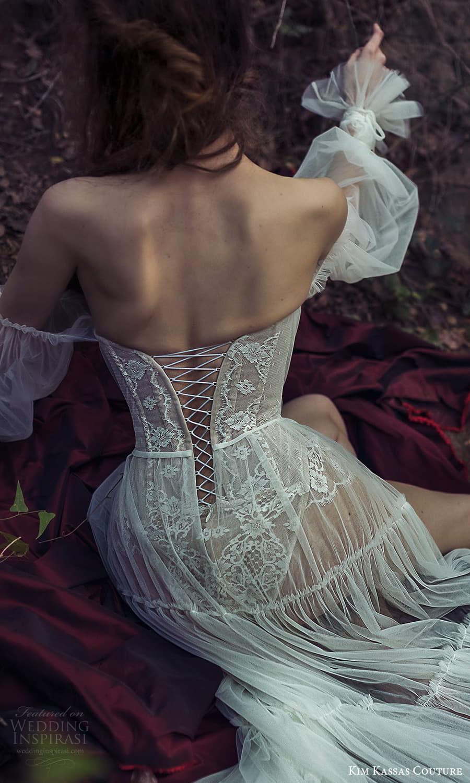 kim kassas spring 2022 bridal long sheer bishop sleeves straight scoop neckline embellished lace a line wedding dress slit skirt chapel train (7) zbv