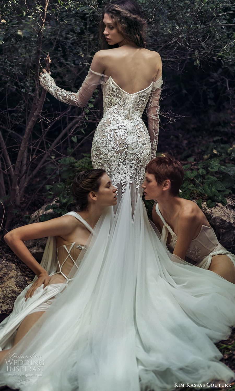 kim kassas spring 2022 bridal off shoulder long sleeves gloves straight across v neckline embellished fit flare wedding dress chapel train (3) bv