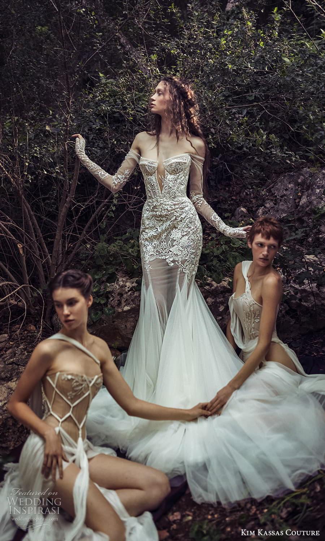 kim kassas spring 2022 bridal off shoulder long sleeves gloves straight across v neckline embellished fit flare wedding dress chapel train (3) mv