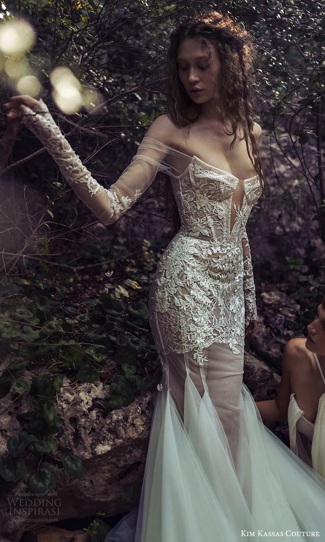 kim kassas spring 2022 bridal off shoulder long sleeves gloves straight across v neckline embellished fit flare wedding dress chapel train (3) zv