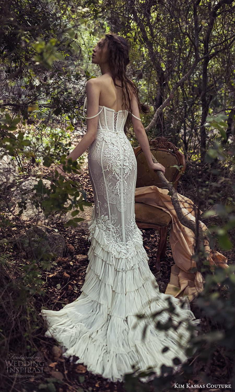 kim kassas spring 2022 bridal off shoulder straps straight neckline fully embellished lace sheath wedding dress chapel train (1) bv