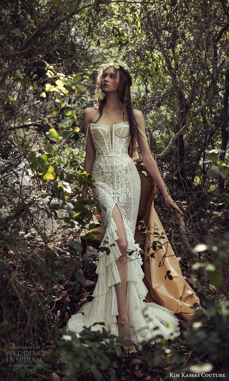 kim kassas spring 2022 bridal off shoulder straps straight neckline fully embellished lace sheath wedding dress chapel train (1) mv