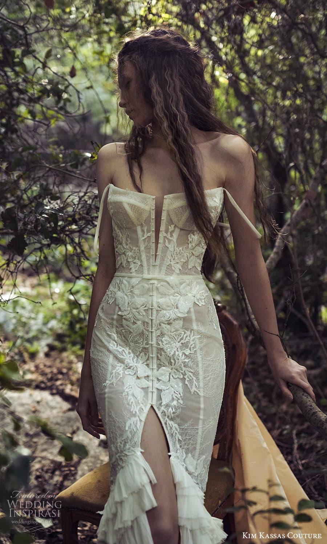 kim kassas spring 2022 bridal off shoulder straps straight neckline fully embellished lace sheath wedding dress chapel train (1) zv
