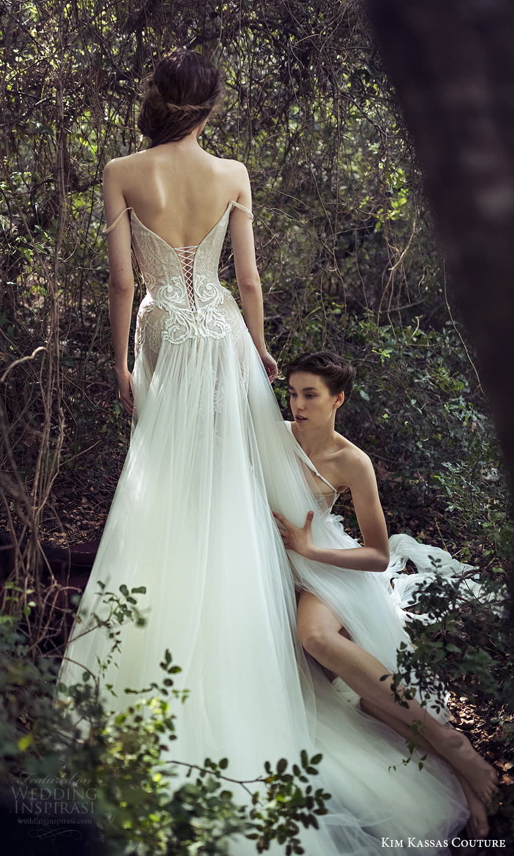 kim kassas spring 2022 bridal off shoulder straps straight scoop neckline fully embellished lace mermaid gown a line overskirt chapel train (9) bv