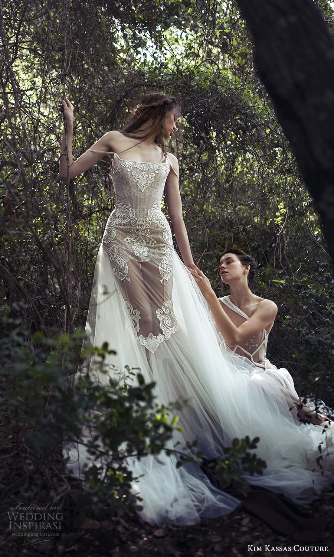 kim kassas spring 2022 bridal off shoulder straps straight scoop neckline fully embellished lace mermaid gown a line overskirt chapel train (9) mv