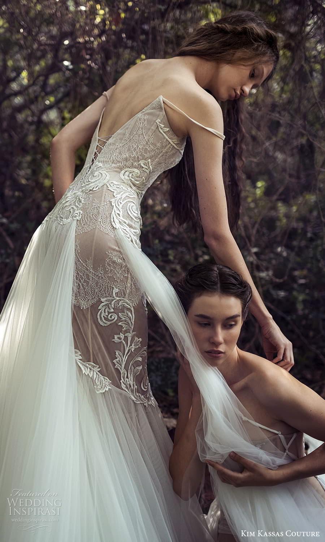 kim kassas spring 2022 bridal off shoulder straps straight scoop neckline fully embellished lace mermaid gown a line overskirt chapel train (9) zsv