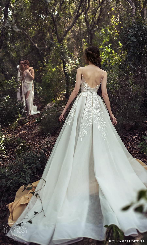 kim kassas spring 2022 bridal sleevelesss straps plunging v neckline fully embellished a line wedding dress chapel train slit skirt (4) bv
