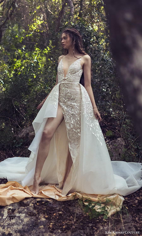 kim kassas spring 2022 bridal sleevelesss straps plunging v neckline fully embellished a line wedding dress chapel train slit skirt (4) fv