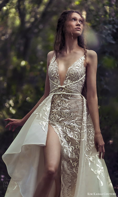 kim kassas spring 2022 bridal sleevelesss straps plunging v neckline fully embellished a line wedding dress chapel train slit skirt (4) mv