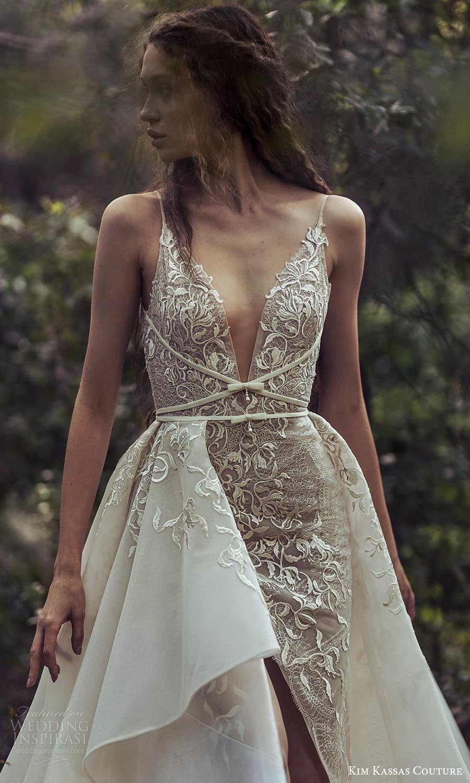 kim kassas spring 2022 bridal sleevelesss straps plunging v neckline fully embellished a line wedding dress chapel train slit skirt (4) zv