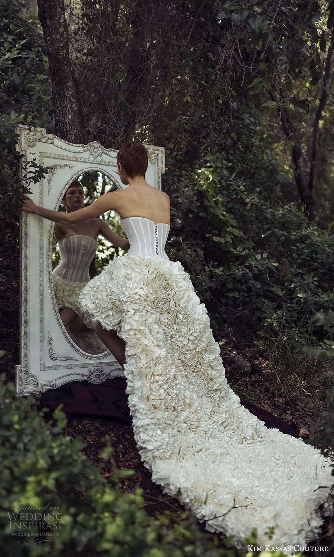 kim kassas spring 2022 bridal strapless curve neckline corset bodice high low a line wedding dress ruffle skirt chapel train (10) bv
