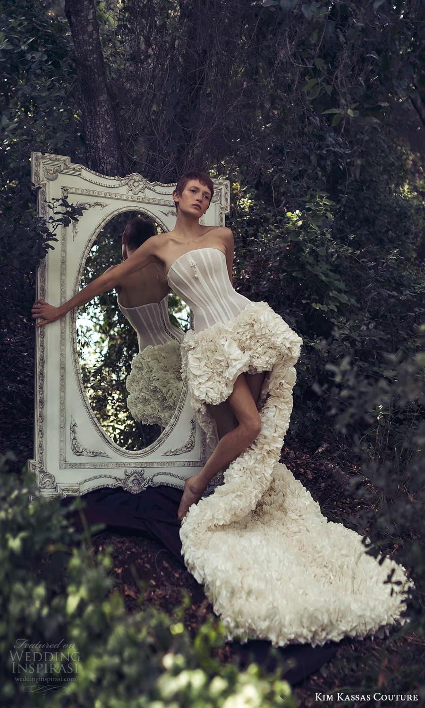 kim kassas spring 2022 bridal strapless curve neckline corset bodice high low a line wedding dress ruffle skirt chapel train (10) mv