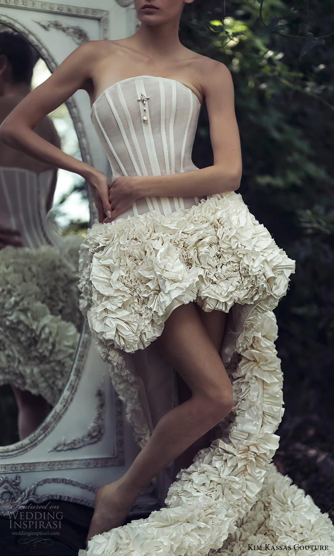 kim kassas spring 2022 bridal strapless curve neckline corset bodice high low a line wedding dress ruffle skirt chapel train (10) zv