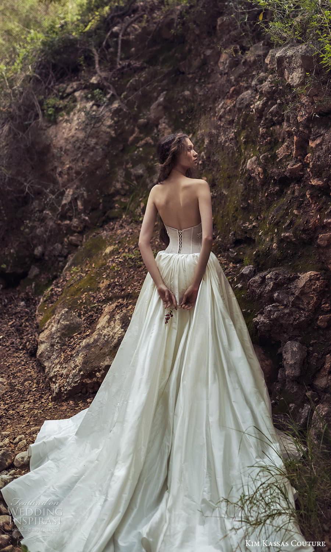 kim kassas spring 2022 bridal strapless scoop neckline embellished corset bodice a line wedding dress slit skirt chapel train (2) bv