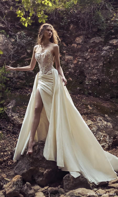 kim kassas spring 2022 bridal strapless scoop neckline embellished corset bodice a line wedding dress slit skirt chapel train (2) mv
