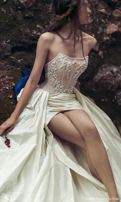 kim kassas spring 2022 bridal strapless scoop neckline embellished corset bodice a line wedding dress slit skirt chapel train (2) zv