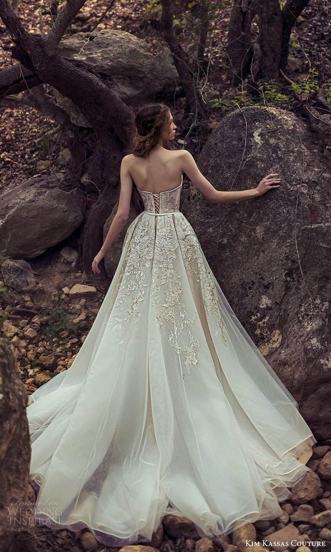 kim kassas spring 2022 bridal strapless straight across necklnie embellished corset bodice a line ball gown wedding dress chapel train (6) bv