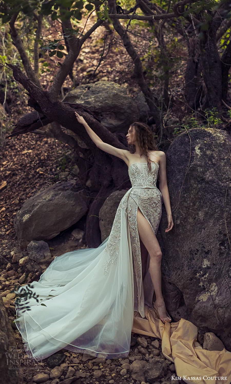 kim kassas spring 2022 bridal strapless straight across necklnie embellished corset bodice a line ball gown wedding dress chapel train (6) mv