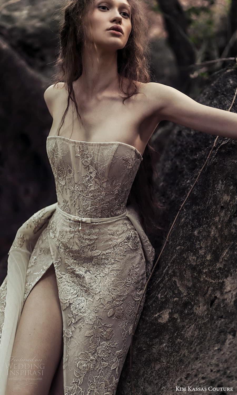 kim kassas spring 2022 bridal strapless straight across necklnie embellished corset bodice a line ball gown wedding dress chapel train (6) zv