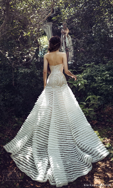 kim kassas spring 2022 bridal strapless straight scoop neckline embellished lace drop waist a line wedding dress ruffle skirt (5) bv