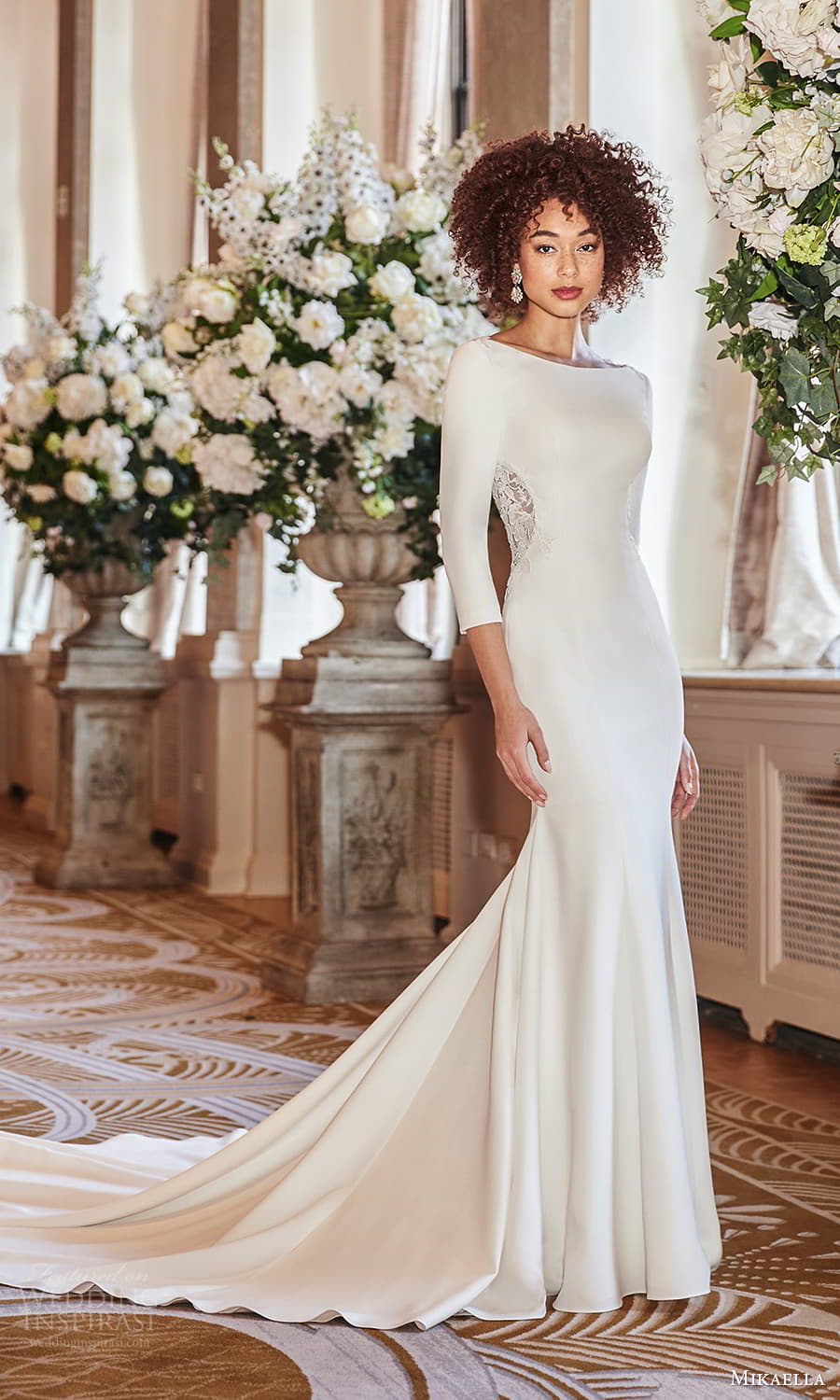 mikaella fall 2021 bridal 3 quarter sleeve bateau neckline clean minimalist sheath wedding dress chapel train (1) mv