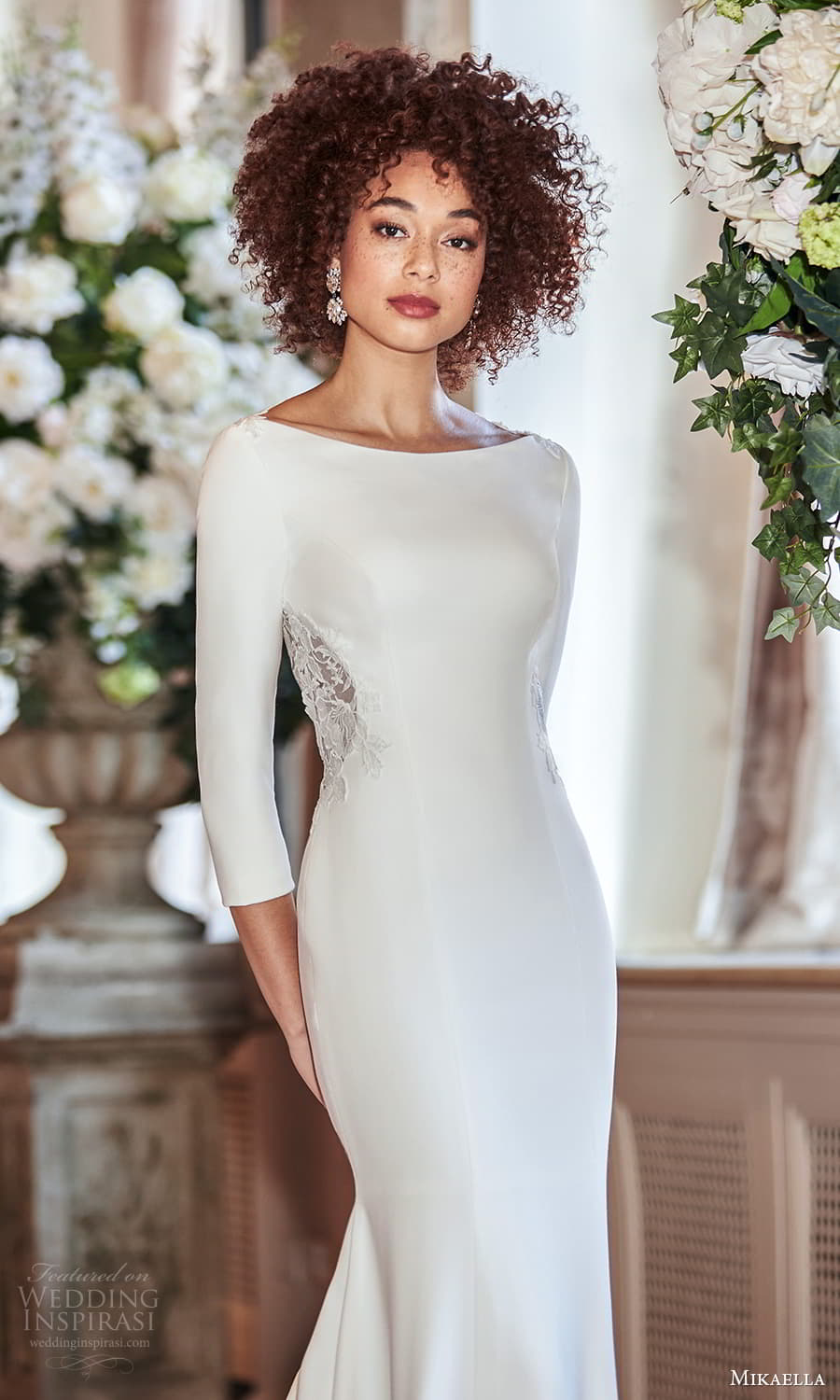 mikaella fall 2021 bridal 3 quarter sleeve bateau neckline clean minimalist sheath wedding dress chapel train (1) zv