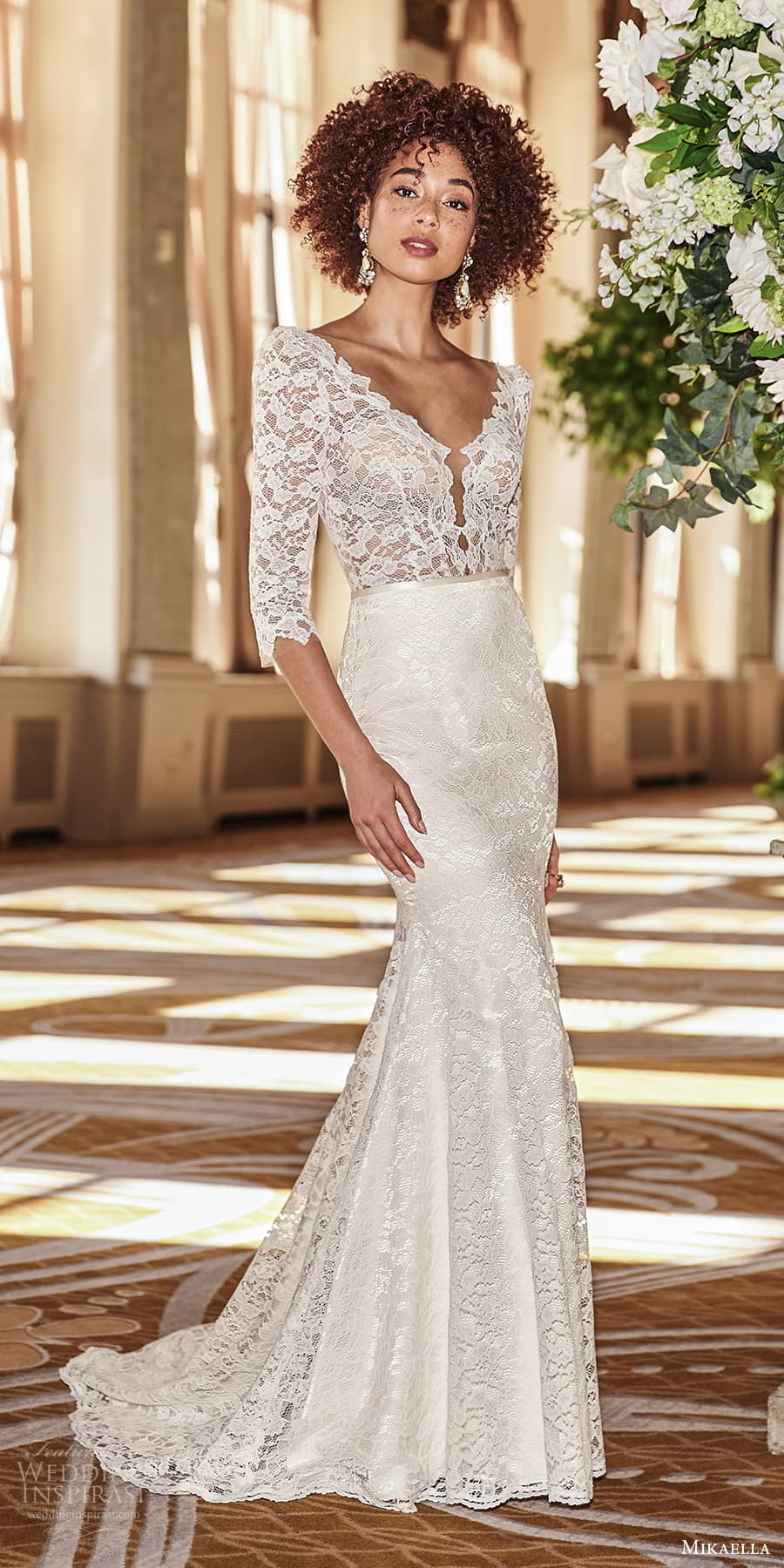 mikaella fall 2021 bridal 3 quarter sleeve v neckline embellished lace sheath wedding dress chapel train (2) mv