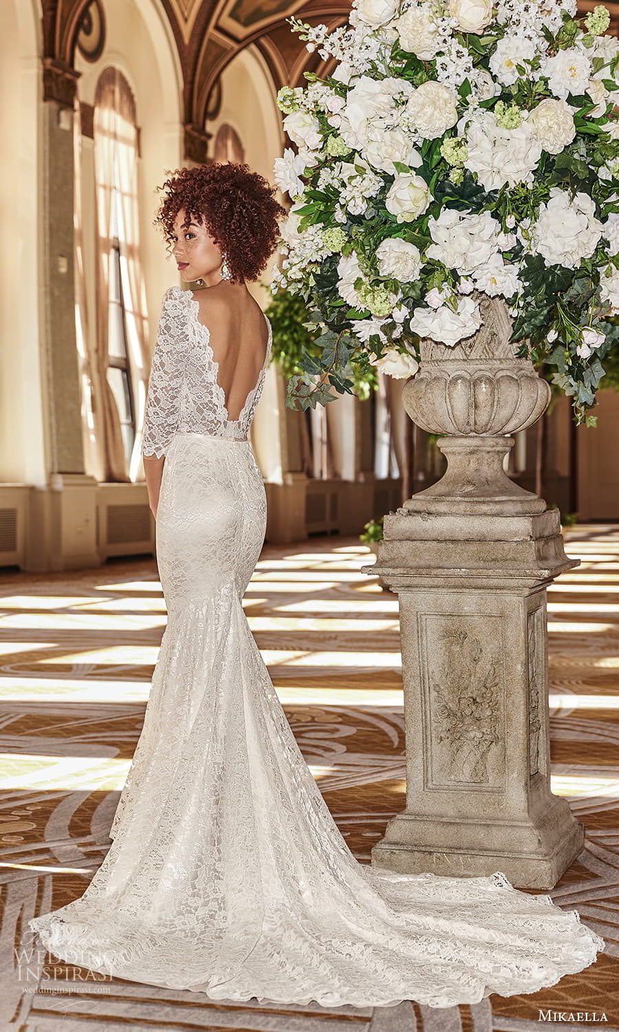 mikaella fall 2021 bridal 3 quarter sleeve v neckline embellished lace sheath wedding dress chapel train v back (2) mv