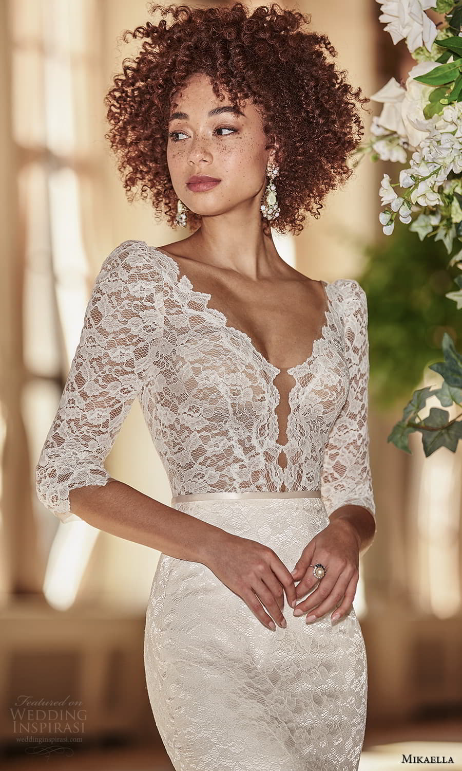 mikaella fall 2021 bridal 3 quarter sleeve v neckline embellished lace sheath wedding dress chapel train v back (2) zv