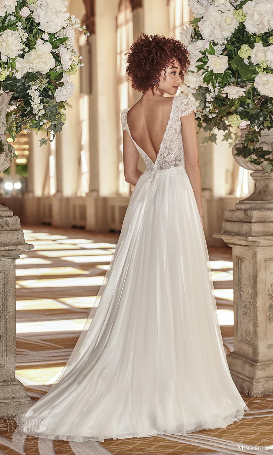 mikaella fall 2021 bridal cap sleeves v neckline lace bodice a line wedding dress chapel train slit skirt v back (4) bv