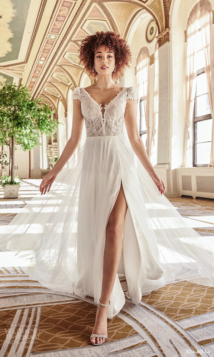 mikaella fall 2021 bridal cap sleeves v neckline lace bodice a line wedding dress chapel train slit skirt v back (4) fv
