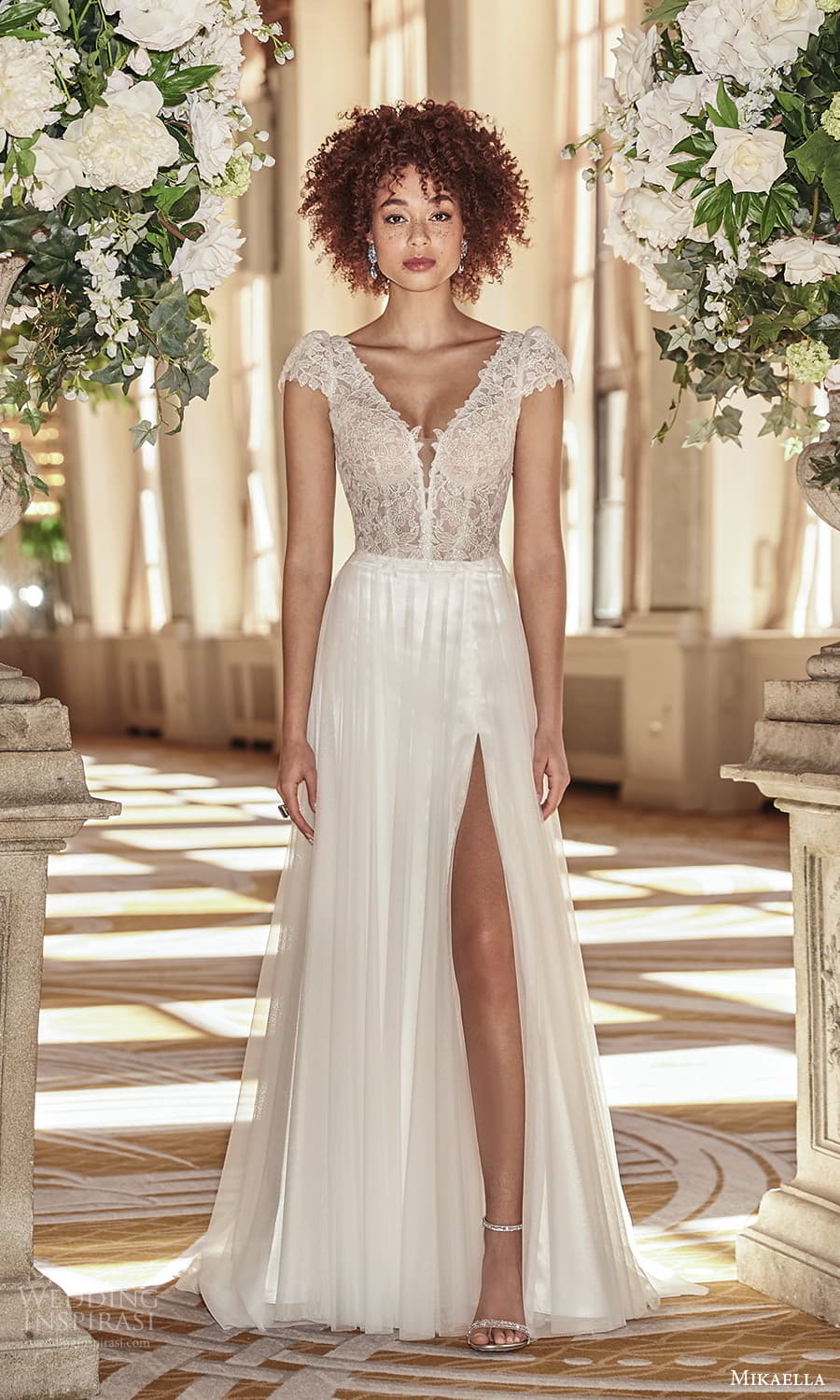 mikaella fall 2021 bridal cap sleeves v neckline lace bodice a line wedding dress chapel train slit skirt v back (4) mv
