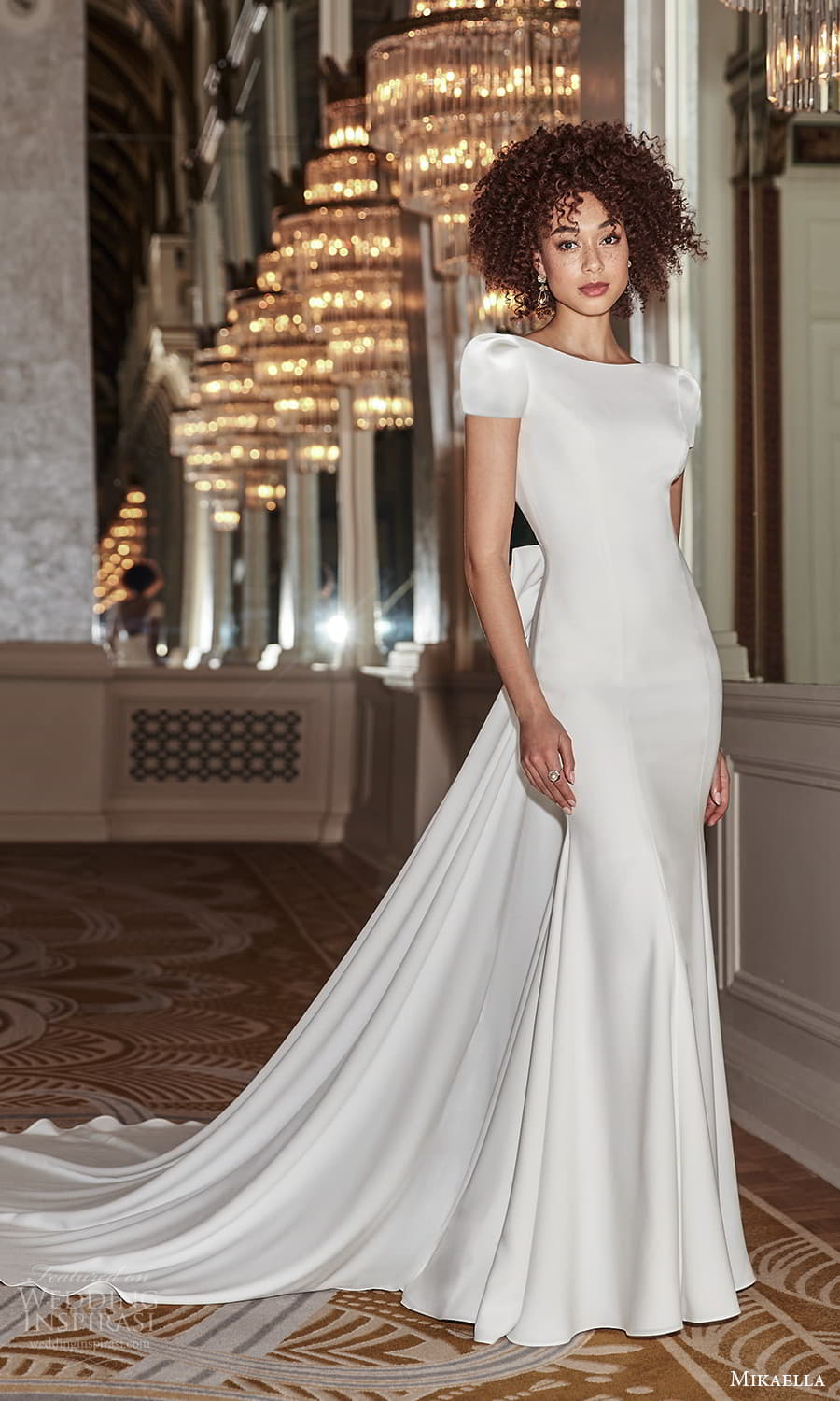 mikaella fall 2021 bridal short puff sleeves bateau neckline clean minimalist sheath wedding dress chapel train (3) mv