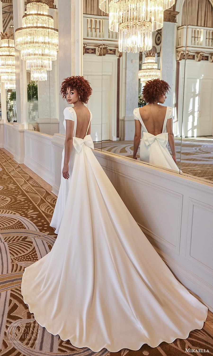 mikaella fall 2021 bridal short puff sleeves bateau neckline clean minimalist sheath wedding dress chapel train low back overskirt (3) bv