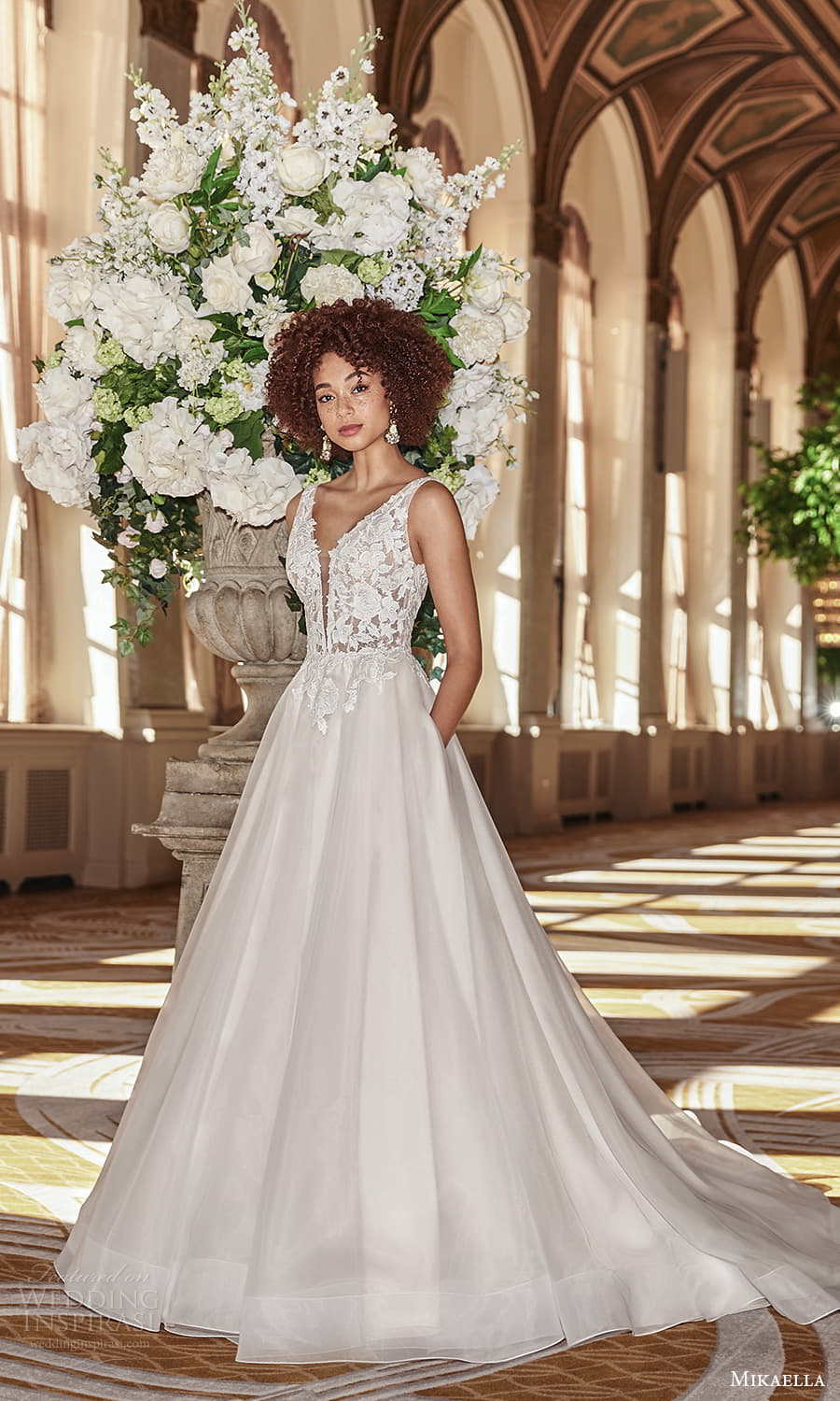 mikaella fall 2021 bridal sleeveless straps plunging v neckline lace bodice clean skirt a line ball gown wedding dress chapel train (6) mv