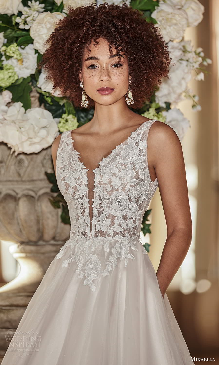 mikaella fall 2021 bridal sleeveless straps plunging v neckline lace bodice clean skirt a line ball gown wedding dress chapel train (6) zv
